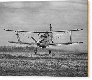 Bi-winged Crop Duster B N W Wood Print
