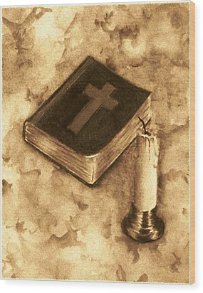 Bible And Candle Wood Print by Michael Vigliotti