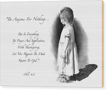 Bible Verse With Drawing Of Child Wood Print by Joyce Geleynse
