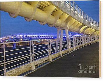 Wood Print featuring the photograph Bicycle And Pedestrian Overpass by Yali Shi