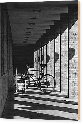Bicycle And Shadows Wood Print by George Morgan