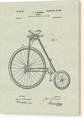 Bicycle Anderson 1899 Patent Art Wood Print by Prior Art Design