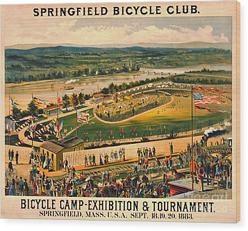 Wood Print featuring the photograph Bicycle Camp 1883 by Padre Art