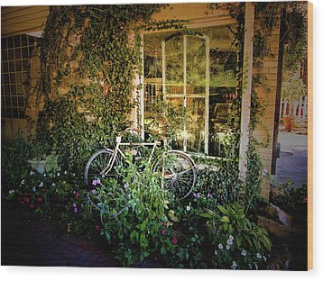 Bicycle In Bloom Wood Print by Rosemary McGahey