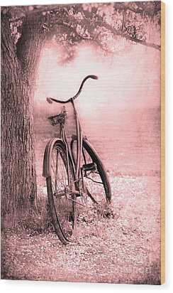 Bicycle In Pink Wood Print by Sophie Vigneault
