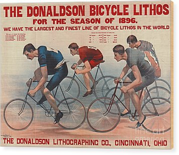 Wood Print featuring the photograph Bicycle Lithos Ad 1896 by Padre Art