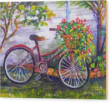 Bicycle Wood Print by Lou Ann Bagnall
