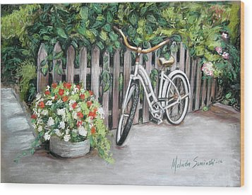 Wood Print featuring the painting Bicycle On Fence by Melinda Saminski