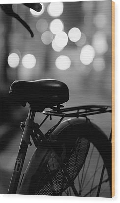 Bicycle On Street At Night In Osaka Japan Wood Print by Freedom Photography