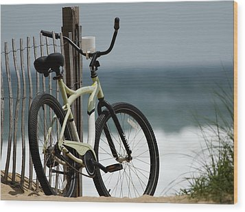 Bicycle On The Beach Wood Print by Julie Niemela