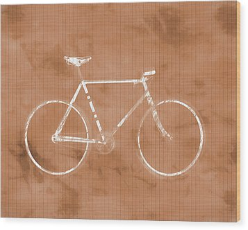 Bicycle On Tile Wood Print by Dan Sproul