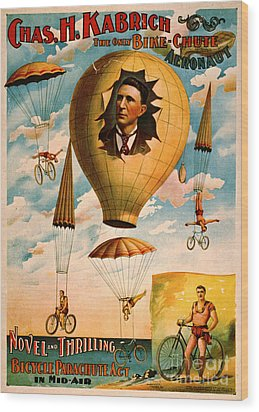 Wood Print featuring the photograph Bicycle Parachute Act 1896 by Padre Art