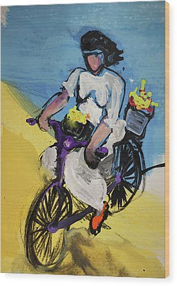 Bicycle Riding With Baskets Of Flowers Wood Print