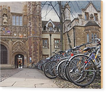 Bicycles At Trinity College Cambridge Wood Print by Gill Billington