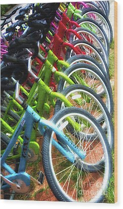 Wood Print featuring the photograph Bicycles On Florida County Road 30-a by Mel Steinhauer