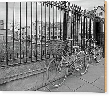 Wood Print featuring the photograph Bicycles On Magdalene Bridge Cambridge In Black And White by Gill Billington