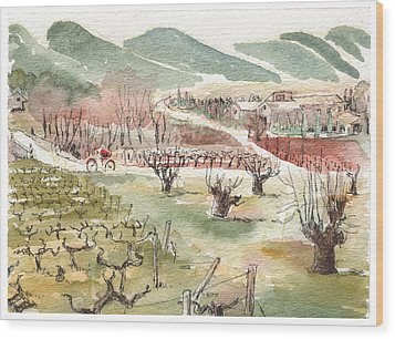 Wood Print featuring the painting Bicycling Through Vineyards by Tilly Strauss