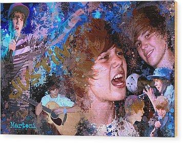 Bieber Fever Tribute To Justin Bieber Wood Print by Alex Martoni