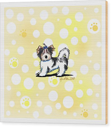 Biewer Terrier Banana Cream Wood Print by Kim Niles
