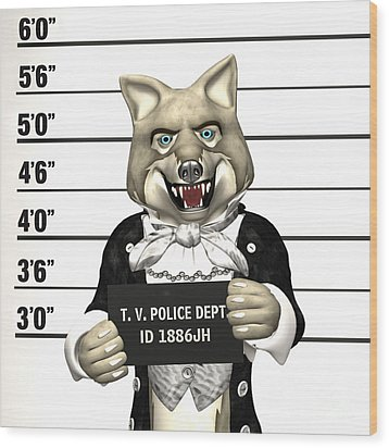 Wood Print featuring the digital art Big Bad Wolf Mugshot by Methune Hively