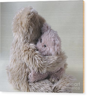 Big Bear Holds Little Bear Wood Print by Ruby Hummersmith