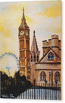 Big Ben And London Eye - Art By Dora Hathazi Mendes Wood Print by Dora Hathazi Mendes