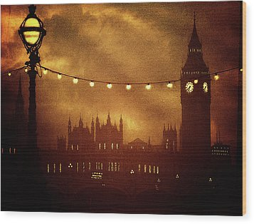 Wood Print featuring the digital art Big Ben At Night by Fine Art By Andrew David
