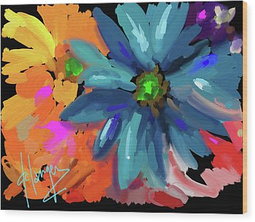 Wood Print featuring the painting Big Blue Flower by DC Langer