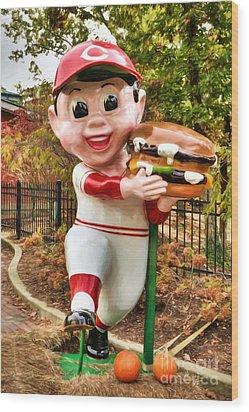 Big Boy Is A Cincinnati Reds Fan Wood Print by Mel Steinhauer