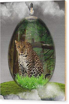 Big Cat Leopard Art Wood Print