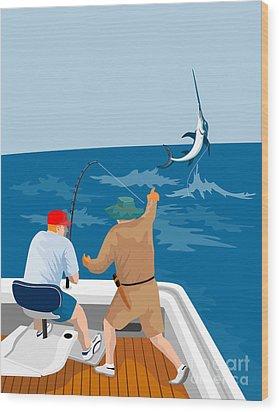Big Game Fishing Blue Marlin Wood Print by Aloysius Patrimonio