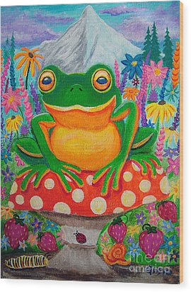 Big Green Frog On Red Mushroom Wood Print by Nick Gustafson