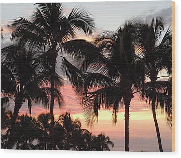 Big Island Sunset 1 Wood Print by Karen J Shine