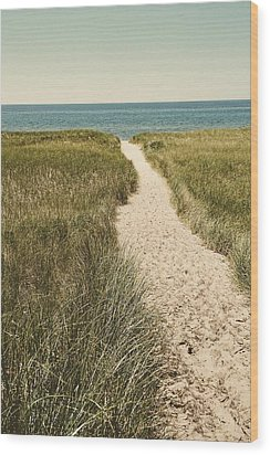 Wood Print featuring the photograph Big Lake Beach Path by Michelle Calkins