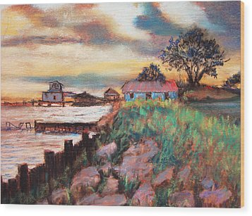 Wood Print featuring the painting Big Lake Bulkhead by AnnE Dentler