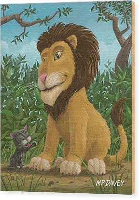 Big Lion Small Cat Wood Print by Martin Davey