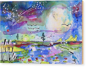 Wood Print featuring the painting Big Moon Wetland Magic by Ginette Callaway