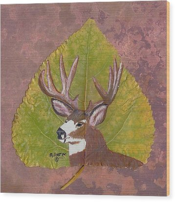 Big Mule Deer Buck Wood Print