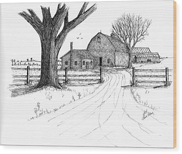 Wood Print featuring the drawing Big Oak Dairy Farm by Jack G  Brauer