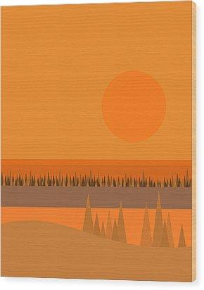 Wood Print featuring the digital art Big Orange Sun by Val Arie