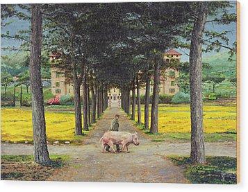 Big Pig - Pistoia -tuscany Wood Print by Trevor Neal