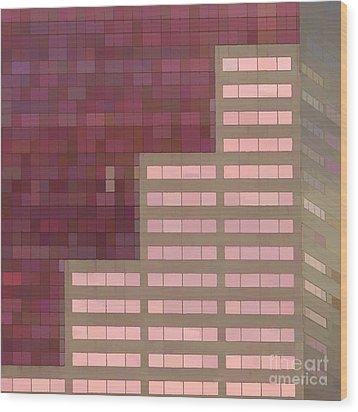Big Pink Abstract Wood Print by Noel Zia Lee