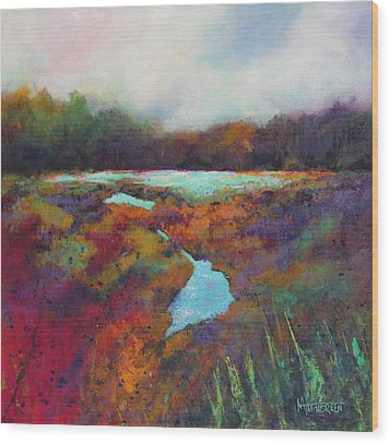 Big Pond In Fall Mc Cormick Woods Wood Print by Marti Green