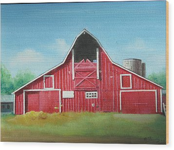 Big Red Barn Wood Print by Oz Freedgood