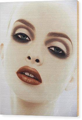 Big Red Lips Wood Print