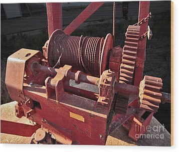 Wood Print featuring the photograph Big Red Winch by Stephen Mitchell