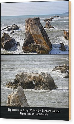 Wood Print featuring the photograph Big Rocks In Grey Water Duo by Barbara Snyder