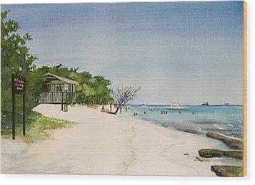 Big Sand At Lime Cay Wood Print by Anji Worton