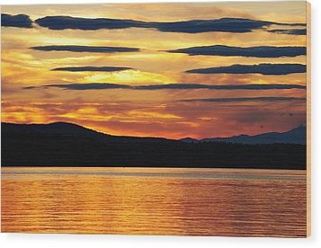 Big Sebago Lake Wood Print