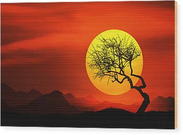 Big Sunset Wood Print